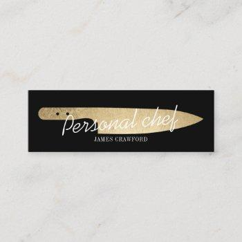 personal chef chic gold knife minimalist catering mini business card