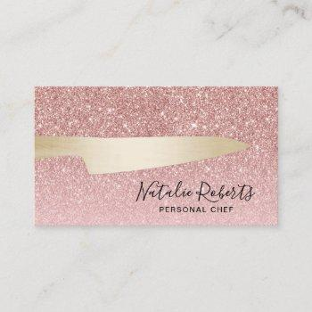 personal chef gold knife modern rose gold glitter business card