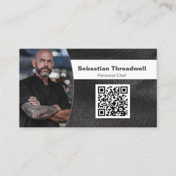 personal chef leather custom photo qr code business card