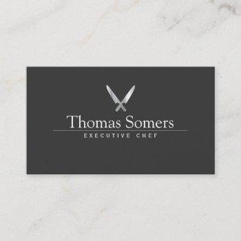 personal chef simple knife logo catering business card