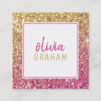 personal contact bold border hot pink gold glitter square business card