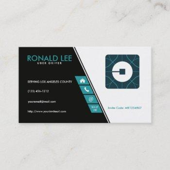 personal ride sharing uber driver (new uber logo) business card