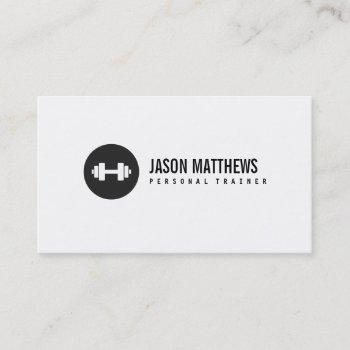 personal trainer white dumbbell logo fitness business card