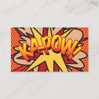 personalised comic book pop art ka-pow! business card
