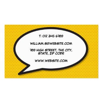 Small Personalised Comic Book Pop Art Ka-pow! Business Card Back View