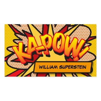 Small Personalised Comic Book Pop Art Ka-pow! Business Card Front View