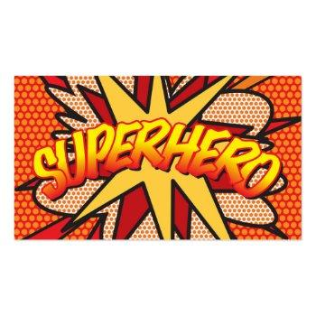 Small Personalised Comic Book Pop Art Superhero Business Card Front View
