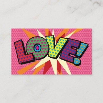 personalised pop art comic book love business card