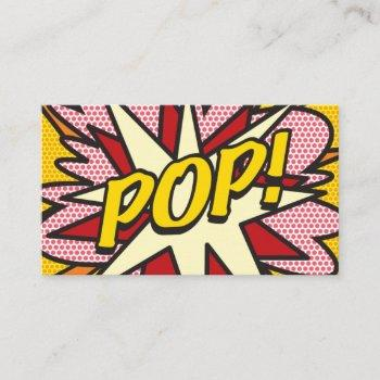 personalised pop art comic book pop! business card
