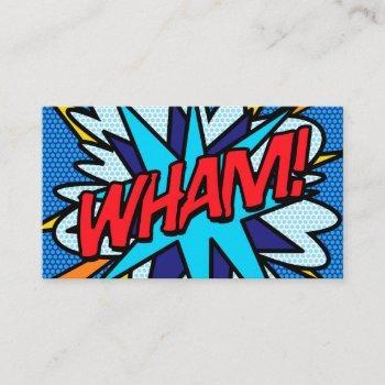 personalised pop art comic book wham! business card