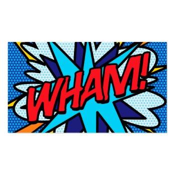 Small Personalised Pop Art Comic Book Wham! Business Card Front View