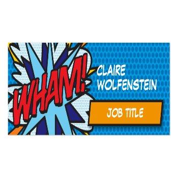 Small Personalised Pop Art Comic Book Wham! Mini Business Card Front View