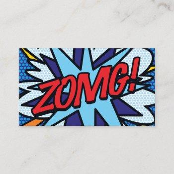 personalised pop art comic book zomg! business card