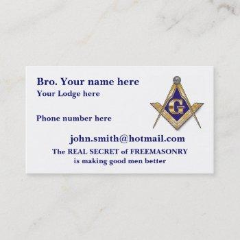 personalize father's day masonic business card