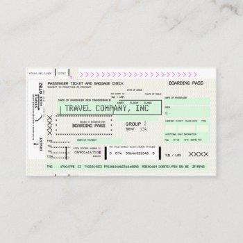 personalize this airline boarding pass business card
