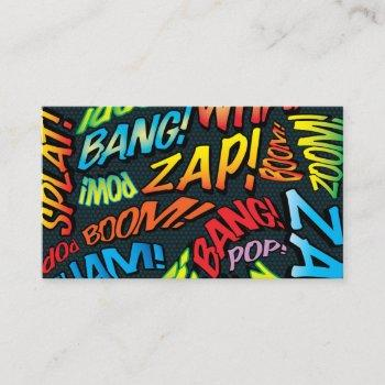 personalized comic book pop art sounds business card