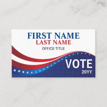 personalized election campaign business card