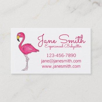personalized hot pink flamingo cute tropical bird business card