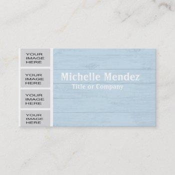 personalized light blue wood photo booth business card