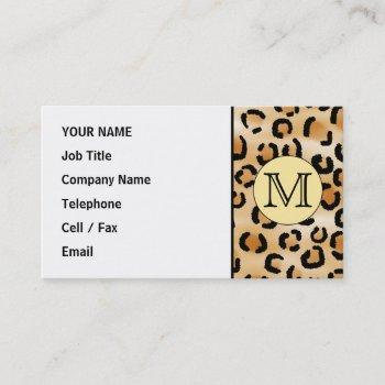 personalized monogram leopard print pattern. business card