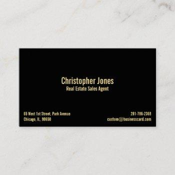 personalized professional elegant black faux gold business card