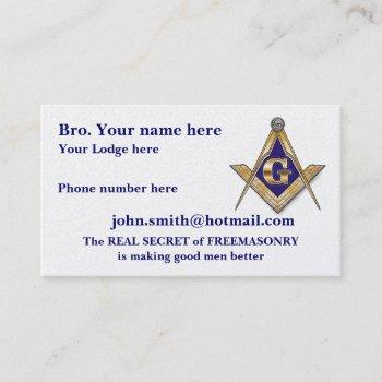 personalized square and compasses masonic calling card