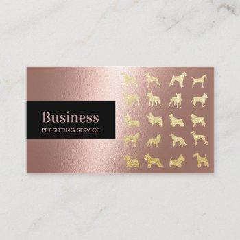 pet care rose gold dogs silhouettes pet sitting business card
