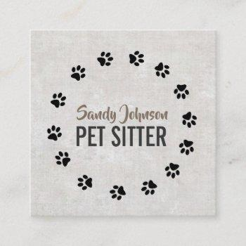 pet dog sitter sitting services business square business card