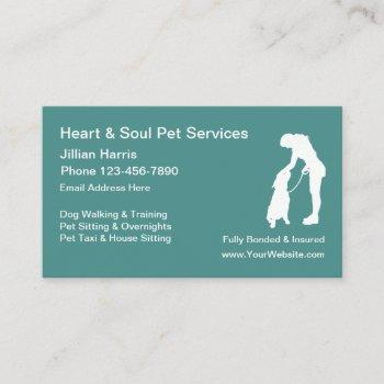 pet dog sitting services business card