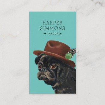 pet groomer cute dapper dog business card