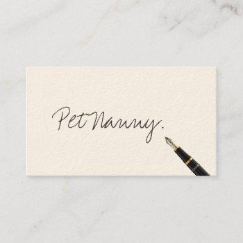 pet nanny elegant handwriting script business card