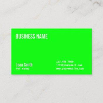 pet nanny plain neon green business card
