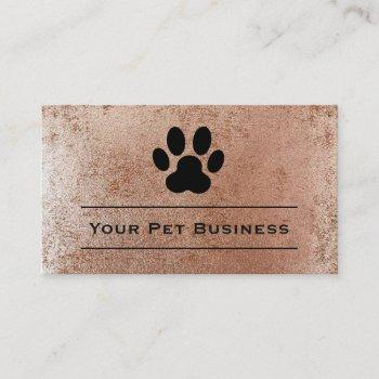 pet paw print on faux rose gold foil business card