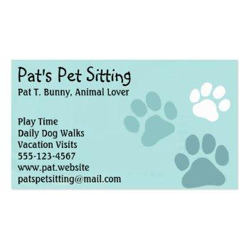 Small Pet Paw Prints On Teal Cat And Dog Animal Services Magnetic Business Card Front View