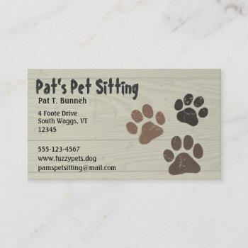 pet paws dog or cat paw prints faux weathered wood business card