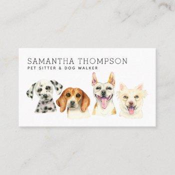 pet sitter cute watercolor dog business card