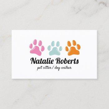 pet sitter dog walker cute 3 color paw prints business card