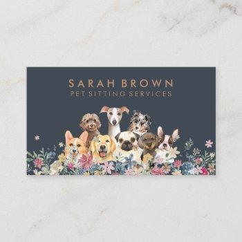 pet sitter walker dog petcare navy brown business card