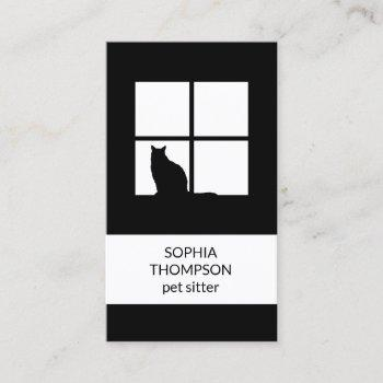 pet sitting black white cat modern plain vertical business card