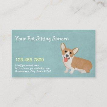 pet sitting cute corgi elegant business card