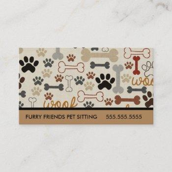 pet sitting dog bones and paws business card
