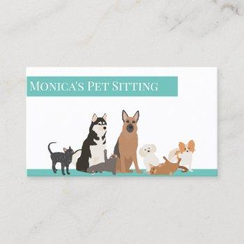 pet sitting dog cat training grooming daycare business card