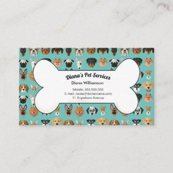 pet sitting, grooming and services business card