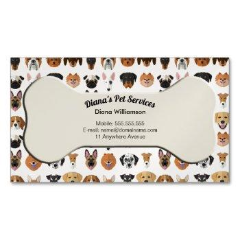 pet sitting, grooming and services business card magnet