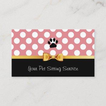 pet sitting pet care cute pink polka dots business card