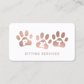 pet sitting services rose gold & white business card