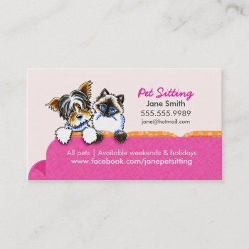 pet sitting yorkie w/ cat couch pink business card