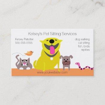 pets - dog cat bird snake business card