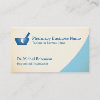 pharmacy mortar pestle logo chemist - cream blue business card