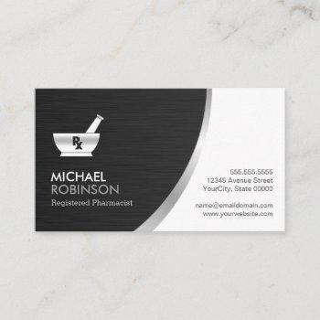 pharmacy pharmacist logo - modern black silver business card